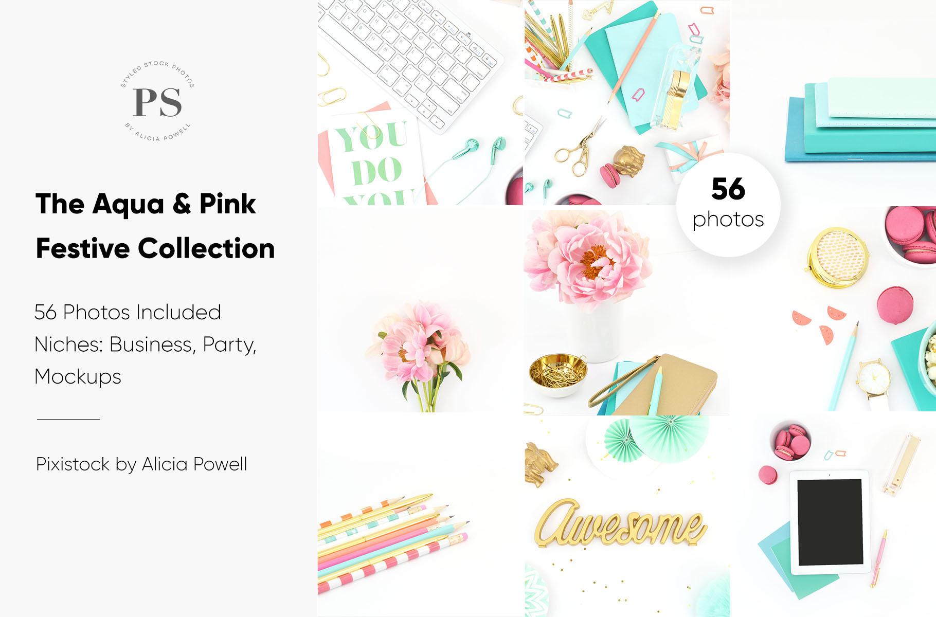 Aqua & Pink Festive Desktop Collection
