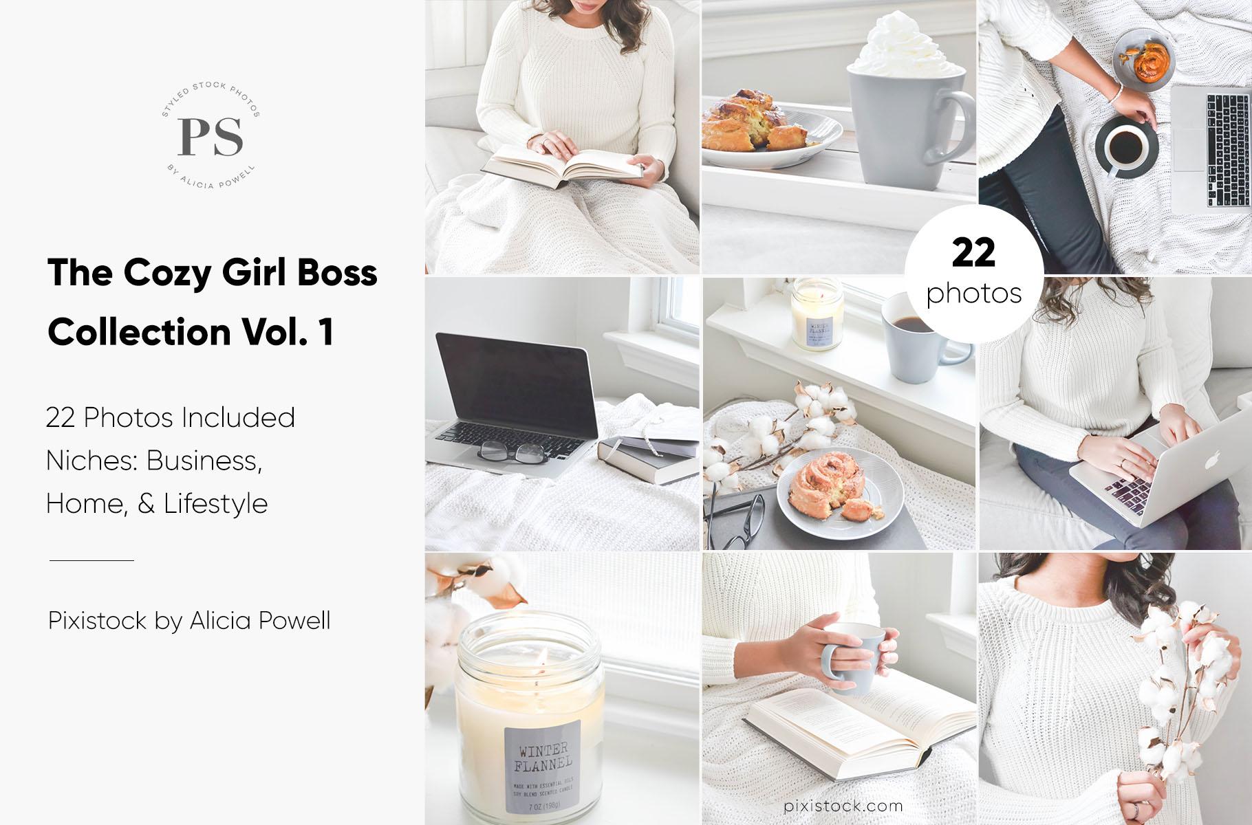 Cozy Gray Girlboss Stock Photo Collection