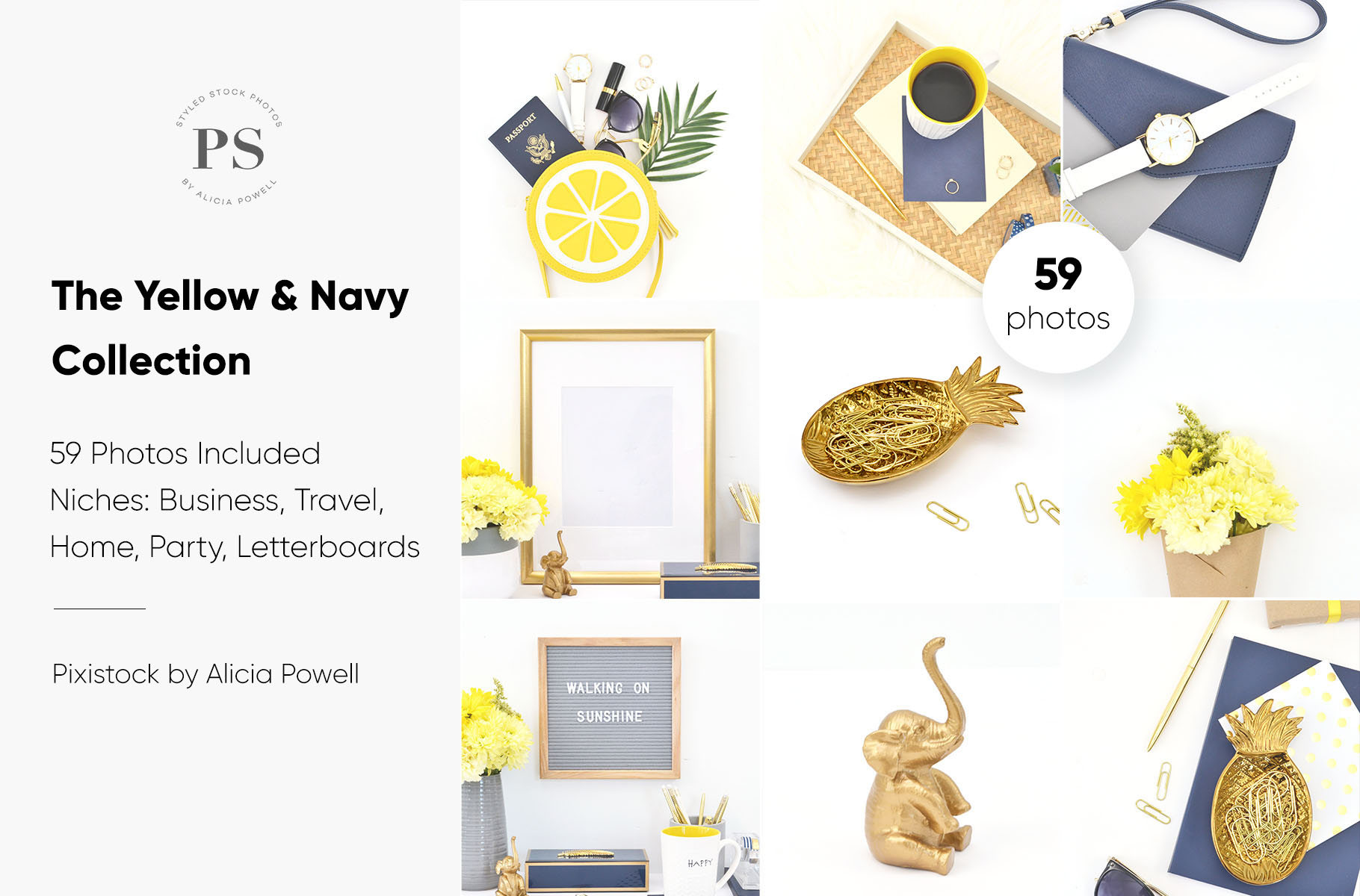 Yellow & Navy Blue Stock Photo Collection