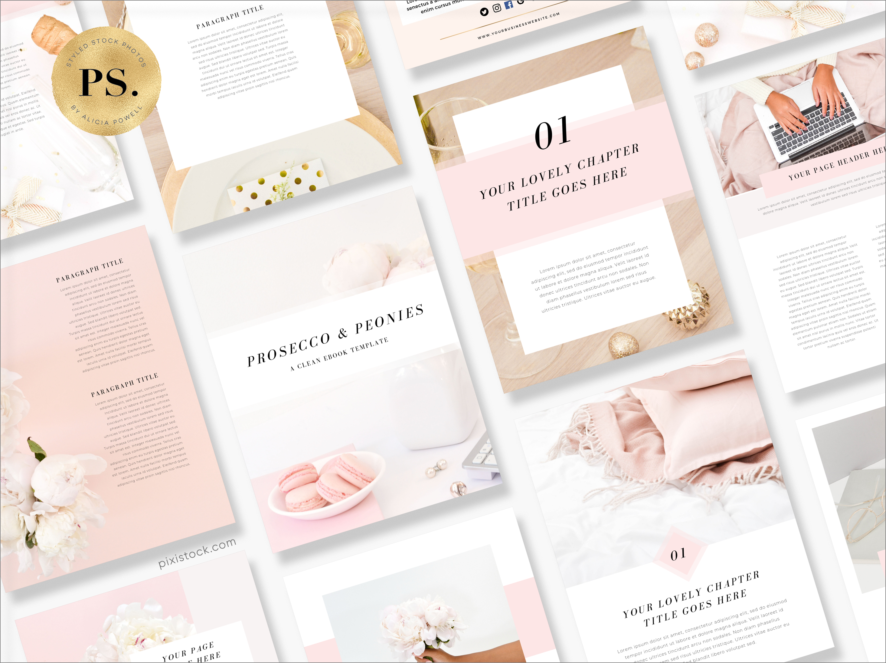 Canva Template Ebook by Pixistock - Proseco & Peonies
